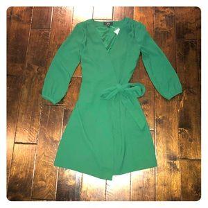 NWT J Crew Emerald Green Tie Waist Dress